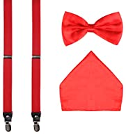 ORSKY Pre Tied Bow Tie Clip-on Suspenders and Pocket Hanky Set for Men