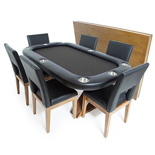 BBO Poker Helmsley Poker Table for 8 Players with Black Speed Cloth Playing Surface, 72 x 46-Inch, Includes Matching Dining Top with 6 Dining Chairs - Poker Gaming Chair