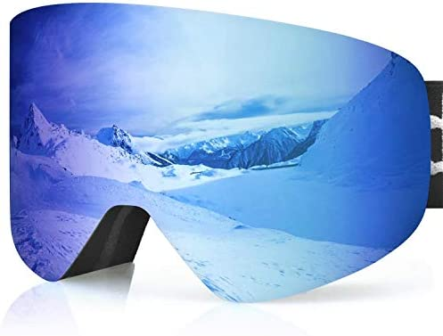 devembr OTG Snowboard Goggles PRO, Ski Goggles Anti-Fog, Magnet Interchangeable Lens, UV Protection, Helmet Compatible Snow Goggles for Men Women, Skiing Snowmobile Skating Blue Cherry Pink Gold
