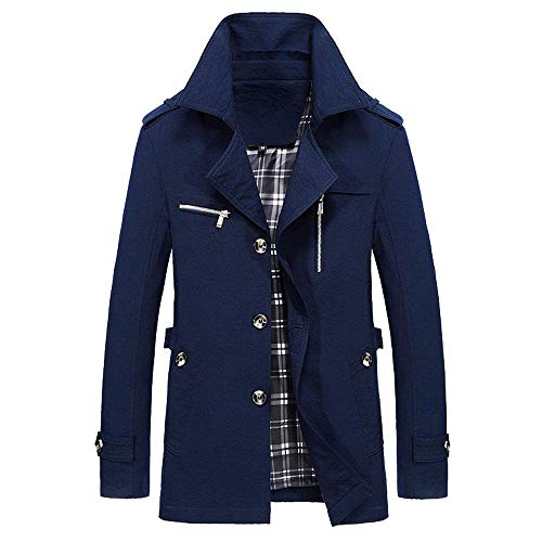 Coat Winter Warm Men Overcoat Buttons Jacket Trench koiu❀❀Men's Dark Outwear Slim Blue Give Jackets Outdoor Long XIqwxOSx4f