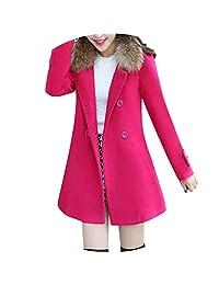 Womens Warm Jacket Fur Collar Casual Outwear Parka Cardigan Slim Coat Overcoat