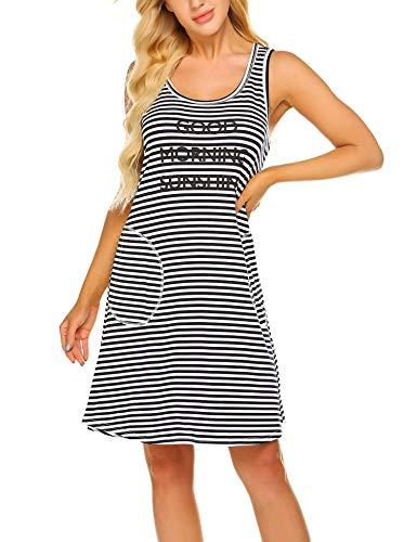 - Ekouaer Tee Nightshirt Women's Nightgowns Chic Alphabet Printed Stripe Sleep Shirt Sleeveless Sleepwear with Pocket S-XXL