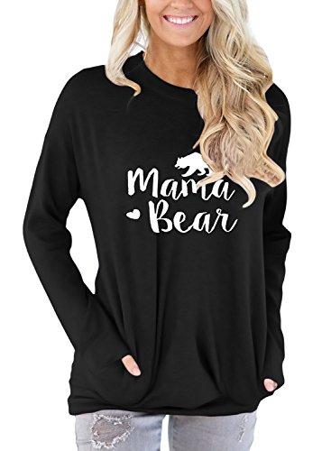 Aking Ace Women Long Sleeve Mama Bear Letter Print Sweatshirt Casual Loose Round Neck Tunic Blouse Tops Black