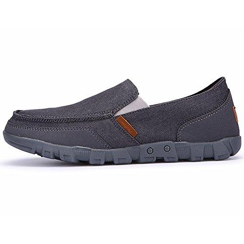 fda153b7ef49 Casual Tennis Chaussure Sans 48 45 Wealsex Toile Taille 46 Gris Marche  Foncé Mocassin 47 Basket Conduite Basse Sneakers Homme ...