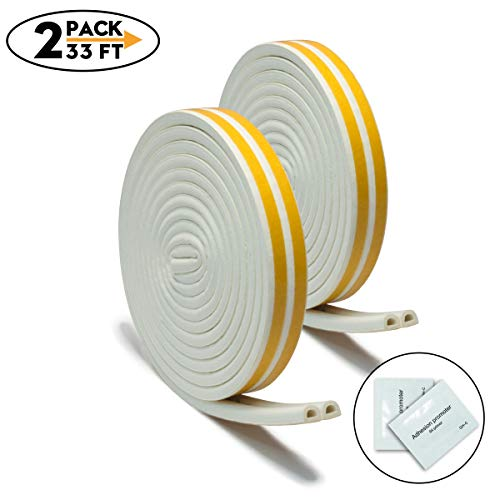 2 Pack 33Ft Long Insulation Weatherproof Doors and Windows Soundproofing Seal Strip with Adhesion Promoter(2PCS) Collision Avoidance Rubber Self-Adhesive (Self Sealing Weatherstrip)