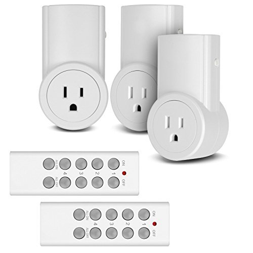 Etekcity Upgraded Remote Control Outlet Wireless Light Switch for Household Appliances, Unlimited Connections, Up to 100 ft. Range, FCC ETL Listed, White (Learning Code, 3Rx-2Tx) (Classic Version)