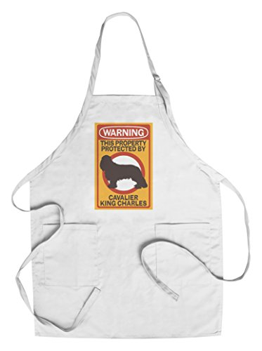 Framed Wall Cavaliers (Cavalier King Charles - Warning (Cotton/Polyester Chef's Apron))