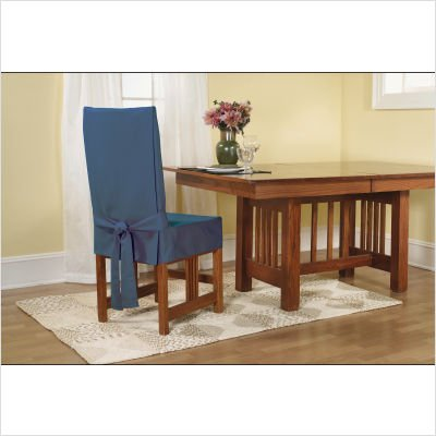 SureFit Duck Solid - Shorty Dining Room Chair Slipcover  - Natural (SF21079) Duck Short Dining Chair Slipcovers