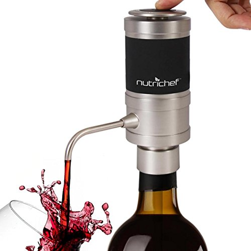Stainless Steel Electric Wine Aerator - Unique Air Decanter Diffuser System for Red and White Wine - Portable and Automatic Bottle Breather Tap Machine Dispenser Pump - NutriChef by NutriChef