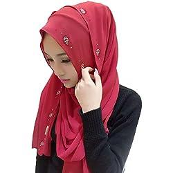 Ababalaya Womens' Chiffion Hotfix Rhinestone Hijab Scarf Shawl, Red