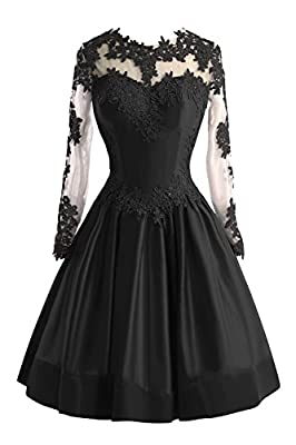 Bess Bridal Women's Sheer Lace Long Sleeve Short Prom Homecoming Dresses