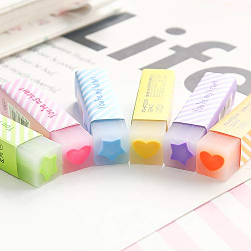 Eraser | pcs/Lot Macaron color Star heart filling Eraser 2B pencil erasers Stationery Office school supplies Material escolar F993 | by HERIUS