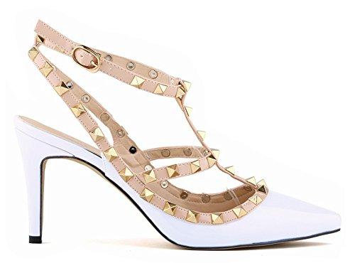 Filles Rivet Fête Épissure Été Heels Pumps Minetom Chaussures Escarpins Pointed Hauts Stiletto Casual Talons Femme Blanc High Party Boucle Toe dFUxxXq
