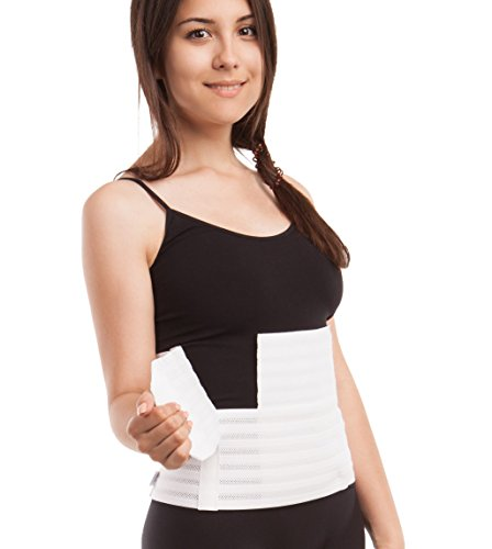 Gabrialla Breathable Abdominal Support Binder - Elastic Belly Wrap 9 Inch wide: AB-309(W), Small, White