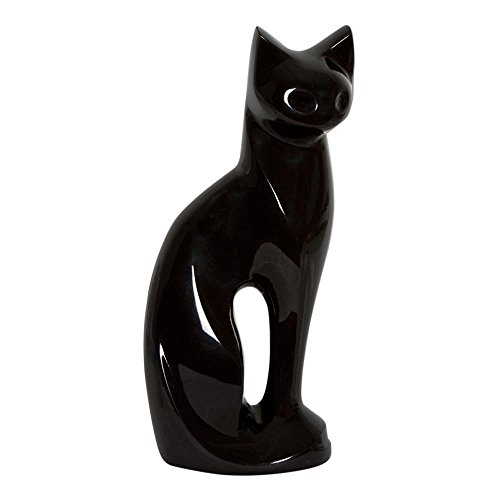 Perfect Memorials Ebony Contemporary Cat Brass Cremation Urn