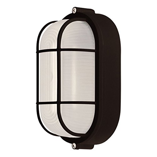 Weatherproof Bulkhead Oval Flushmount Exterior Light for Wet Locations, Black