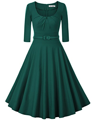 MUXXN Women's 1950s Vintage 3/4 Sleeve Pleated Scoop Neckline Swing Cocktail Dress (XL, Dark Green)