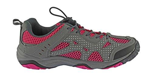 Rockin Chaussures Femmes Amphibie Athlétique Randonnée Natation Eau Chaussure Aqua Sneaker Gris / Rose