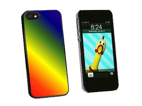 Graphics and More Rainbow Snap-On Hard Protective Case for iPhone 5/5s - Non-Retail Packaging - Black