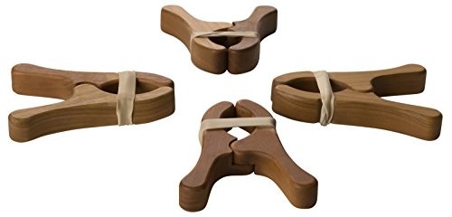 Sarah's Silks Cherry Wood Play Clips Available in Sets of 2 and 4 (4)