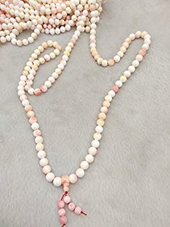 108 Beads Pink Conch Shell Jewelry Yoga Mala -Prayer Beads ...