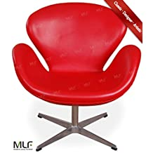 MLF Arne Jacobsen Swan Chair (8 Colors). Wing Lounge Chair. 100% Premium Aniline Leather & Hand-Sewn. 360° Swivel, Satin-Polished 4-Star Aluminum Base with Sturdy Plastic Pads. Single Reinforced Fiberglass Shell Frame, Elegant & Organic Swan Shape & High Resilient Multi-Density Foam Facilitates Relaxed Sitting Posture.(Red)