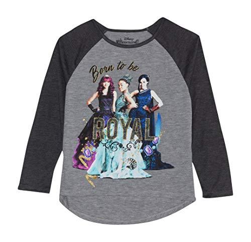 DESCENDANTS Disney 2 Girls Long Sleeve Raglan Shirt, Gray, Medium 7-8