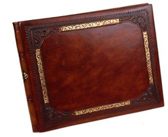 Gold Frame Italian Leather Guest Book from Fiorentina wit...