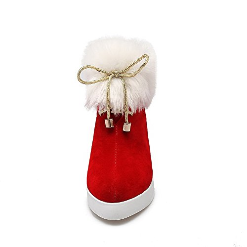AllhqFashion Mujeres Tacón Alto Sólido Puntera Redonda Esmerilado Sin cordones Botas Rojo