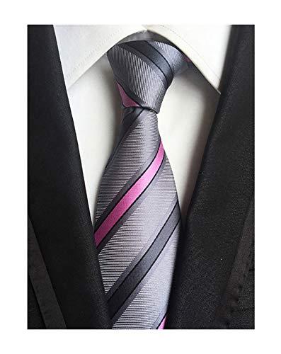 Mens Fashion Style Grey Pink Stripe Silk Tie Necktie Pretty Birthday Gift Online