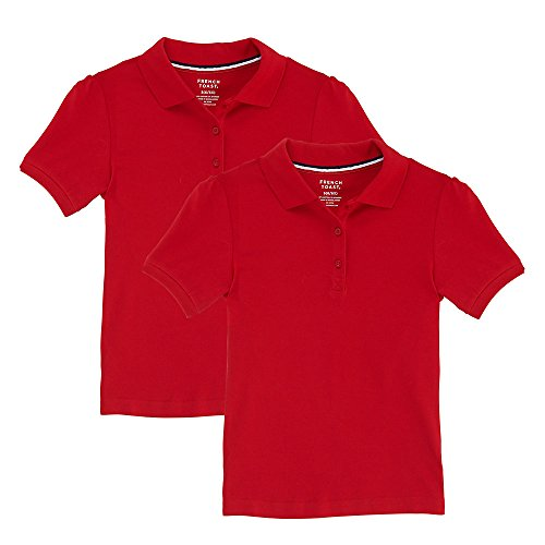 French Toast Big Girls' Short Sleeve Stretch Pique Polo-2 Pack, Red, XL (Uniform Shirt Red)