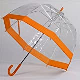 Frankford Clear Bubble Umbrellas Orange Trim,35