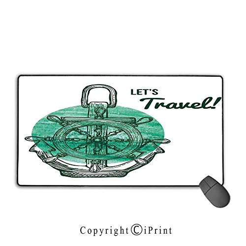 Mouse pad with Lock,Anchor Decor,Lets Travel Theme with Aquatic Icons Navy Rope Helm Water Vessel Oceanic Art,Turquoise Black White,Suitable for laptops, Computers, PCs, Keyboards,9.8