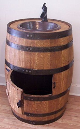 Whiskey Barrel Sink with Copper Sink, Bronze Faucet and Access Door by Aunt Molly's Barrel Products