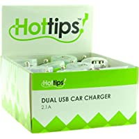 Hottips 1876765 Tray Pack 2.1A Dual USB Car Charger - 4 Packs of 16 - Case of 64