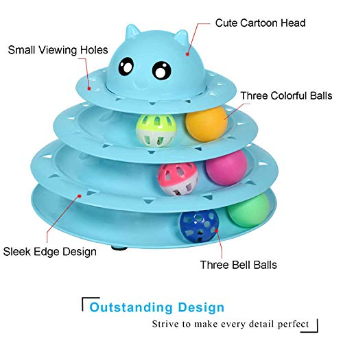 Upsky Cat Toy Roller Cat Toys 3 Level Towers Tracks Roller with Six Colorful Ball Interactive Kitten Fun Mental Physical Exercise Puzzle Toys … 5