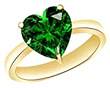 AFFY Heart-Cut Simulated Green Emerald Solitaire Ring In 14k Gold Over Sterling Silver (4 Ct)