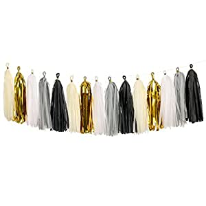 Ling's moment Tissue Paper Tassels, Tassel Garland Banner for Wedding, Baby Shower, Event & Party Supplies, 15 pcs DIY Kits - (Metallic Gold+Black+White+Gray+Ivory)