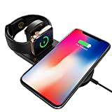 Virwir Qi Wireless Charger Pad, Qi-Certified 7.5W 2 in 1 Wireless Charging Stand Cable Compatible with Apple Watch Series 1/2/3/4, iPhone x/xs/8/8plus, 10W Fast Charging Compatible Galaxy Note 9/S9