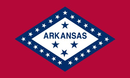 Arkansas State Flag - Nylon with Canvas Header and Grommets - 3 x 5 feet