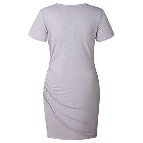 Dress Short Mini Grey LETG Women Casual Stretch OE Sheath Bodycon Sleeve Ruched Dresses nHXUW7zq