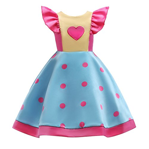 ✿ Baby Holiday Dress,BYEEE Girl Bowknot Ruffles Sleeve Polka Dotted Pleated Multilayer Ruffled Swing Party Dress (Pink ✿, 4T (110cm)) (Pink Dress Dotted)