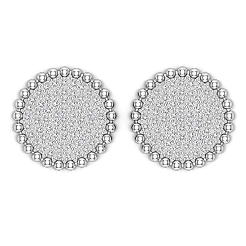 ASHNE JEWELS IGI Certified 0.51 Carat Round-Shape Natural Diamond (G-H Color, I1-I2 Clarity) 14K White Gold Round Shape Stud Earrings For Women
