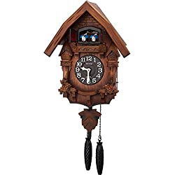RHYTHM ( rhythm clock) [ earnest bellows type cuckoo clock cuckoo ] Therese R ' Japan assembly ' wood frame / dark brown blur wooden base finish 4MJ236RH06