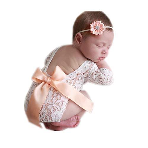 Newborn Baby Infant Photography Props Girls Lace Butterfly Bodysuit with Flower Headdress (Light Orange)