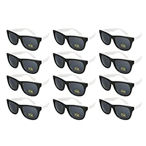 Edge I-Wear 12 Pack Neon Party Sunglasses with CPSIA Certified Lead (Pb) Content Free UV 400 Lens(Made in Taiwan) 5402R/WHT-12