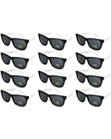 Edge I-Wear 12 Pack High Quality Neon Horn Rimed Sunglasses with 100% UV Protection (Made in Taiwan)