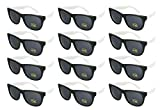 Edge I-Wear 12 Bulk 80s Party Sunglasses Neon Sunglasses for Adult Party Favors Wedding 5402RA/WHT-12