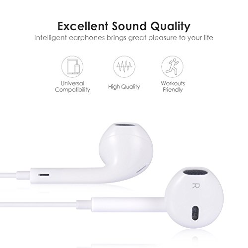 Earbuds,Leimei With Microphone Earphones Stereo Headphones and Noise Isolating headset Made for iPhone 7/7 Plus iPhone8/8Plus iPhone X (Bluetooth Connectivity)