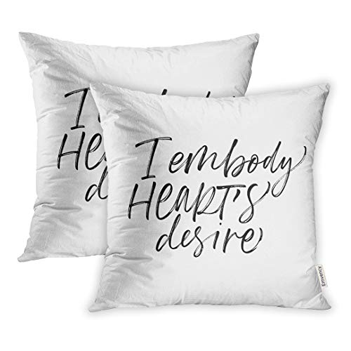 Emvency Throw Pillow Covers Abstract I Embody Heart Desire Phrase Ink Modern Brush Adore Alphabet Artistic Black Square 18x18 inch Pillowcases Case Cover Cases ()